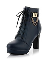 Women's Shoes Chunky Heel Platform/Fashion Boots/Round Toe Boots Dress/Casual Black/Brown/Navy