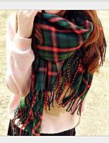 Women Cute Tassel Shawl Grid Warm Scarf