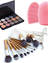 11pcs Makeup Cosmetic Eyebrow Foundation Kabuki Brushes Kits+15 Colors Shimmer Eyeshadow Palette+Brush Cleaning Tool
