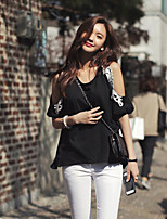Women's Patchwork Black T-shirt , Round Neck Short Sleeve Lace