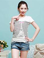 Women's Print Pink/White T-shirt , Round Neck Short Sleeve