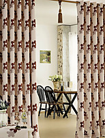 (One Panel)Coffee Jacquard Country Flowers Linen Room Darkening Curtain