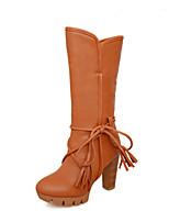 2016 Women's Boots Spring / Fall / Winter Platform / Fashion Boots Leatherette / Casual Chunky Heel Middle Boots