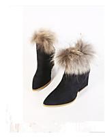 Chaussures Femme - Décontracté - Noir / Marron - Gros Talon - Bottine / Bout Pointu - Bottes - Similicuir