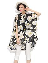 Women's Casual/Print Fashion Large Size Micro-elastic Short Sleeve Long Blouse (Chiffon)