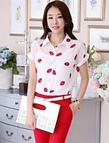 Women's Print White Blouse , Shirt Collar Short Sleeve