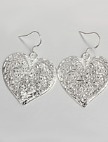 Fashion Dress Hollow out Heart Design Silver Plated Drop Earrings for Lady with Zircon