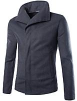 Men's Casual Pure Long Sleeve Regular Jacket (Wool Blend)