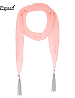 D Exceed  Lovely Candy Colors Scarf For Lady Multifunctional Chiffon Jewellery Scarves with Silver Tasssles