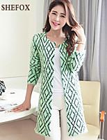 Women's Casual Micro-elastic Medium Long Sleeve Cardigan (Knitwear)SF7E13