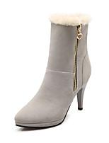 Chaussures Femme Faux Daim Talon Aiguille Bout Pointu/Bottes à la Mode Bottes Habillé Noir/Marron/Gris/Beige