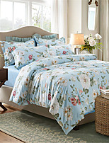 H&C 100% Cotton 600TC Duvet Cover Set 4-Piece White And Red Flowers Green Leaves Pattern Blue Background  XB2-013