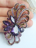 2.56 Inch Gold-tone Purple Rhinestone Crystal Flower Brooch Pendant Art Decorations