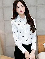Women's Casual Inelastic Long Sleeve Regular Shirt (Cotton Blends)