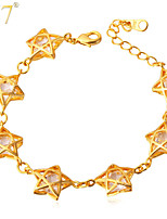 U7® Women's High Quality Jewelry Gifts for Girls 18K Real Gold Plated Sparkle Cubic Zirconia Cute Stars Charms Bracelets
