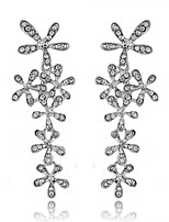Women's European Style Fashion Luxury Shiny Rhinestone flower Drop Earrings
