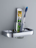 Toothbrush Holder,Contemporary Chrome Finish one Glass Stainless Steel,Bathroom Accessory