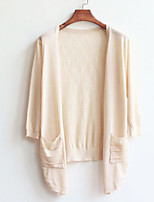 Women's Pink/White/Yellow/Beige Cardigan , Casual Long Sleeve