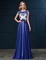 저녁 정장파티 드레스 - 풀/로얄 블루/화이트 시스/컬럼 바닥 길이 바토 사틴 쉬프톤