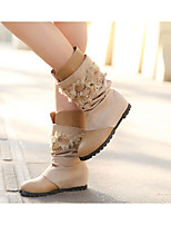 Women's Shoes Low Heel Round Toe Boots Outdoor/Casual Brown/Khaki