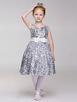 A-line Knee-length Flower Girl Dress - Sequined/Polyester Sleeveless