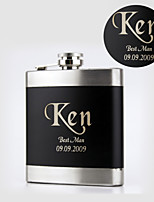 Personalized Black Stainless Steel Flasks 6-oz Hip Flask