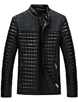 Men's Long Sleeve Jacket , Polyester/PU Casual/Work/Formal/Sport/Plus Sizes Plaids & Checks/Pure