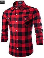 JESUNLOM®Man's Shirt Fashion Long Sleeve Classics Grid Casual Shirt Europe Style Business All-Match Shirt