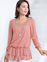 Women's Lace Pink/Black Blouse , Round Neck Long Sleeve