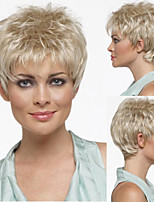 Pixie Cut Hairstyle Synthetic Wigs Short Hair Straight Blonde Wigs with Bangs for Women Perruque Natural