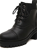Women's Shoes Chunky Heel Combat Boots/Round Toe Boots Casual Black/Burgundy