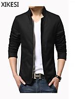 Men's Casual/Work Pure Long Sleeve Regular Jacket (Cotton)XKS7B01