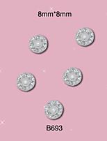 B693 8mm*8mm Nail 10pcs/Lot 3D Nail Art Glitter Clear Rhinestone Alloy Pearl Design Nail Art Products Decorations