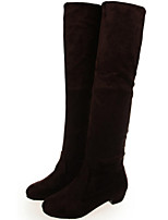 Women's Shoes Fabric Chunky Heel Round Toe Boots Casual Black/Brown