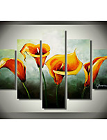 Hand-Painted Art Wall Decor Painting Modern Yellow Fairy Oil Painting on Canvas  5pcs/set Without Frame