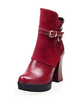Women's Shoes Fleece Chunky Heel Fashion Boots/Round Toe Boots Dress Black/Red
