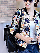 Women's Floral Blue/Red/Green Jackets , Print Round Neck Long Sleeve