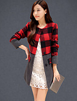Women's Color Block Red/Gray Coat , Casual/Work Long Sleeve Polyester