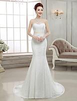 Trumpet/Mermaid Sweep/Brush Train Wedding Dress -Strapless Lace