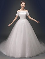 Ball Gown Chapel Train Wedding Dress -V-neck Satin