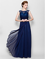 Sheath/Column Mother of the Bride Dress - Dark Navy Floor-length Sleeveless Chiffon/Lace