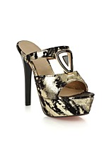 Women's Shoes Suede Stiletto Heel Heels/Round Toe/Open Toe Slippers Dress/Casual Black/Gold