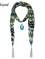 D Exceed Lady's Scarves Elegant Chiffion Colorful Brand with Blue Glass Tear Drop Pendent Scarves with Tassels