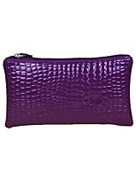 Women Crocodile Patent Leather Wrist Strap Zipper Casual Clutch Bag Coin Purse