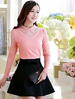 Women's Casual/Lace Micro-elastic Long Sleeve Regular T-shirt (Lace/Polyester)