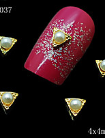 4*4mm 10pcs/lot Lovely Round Pearl in Golden Triangle Alloy Nail Jewelry on Nails Salon Supplies