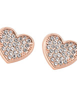 Glamorous Heart Shape 18k Gold Plated Stud Earrings