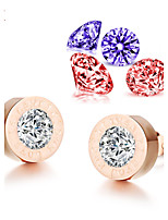 OPK®AAA Zirconium Can Remove Change Zircon Engraving Letters Rose Gold Stud Earrings (Send Two Pairs Zirconium Drill)