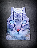 European Style Double Net Hole Vest Digital Printing 3D Sleeveless Cat Head Harajuku Vest