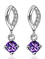 Concise Silver Plated Amethyst Purple Crystal Drop Earrings for Party Women Jewelry Accessiories